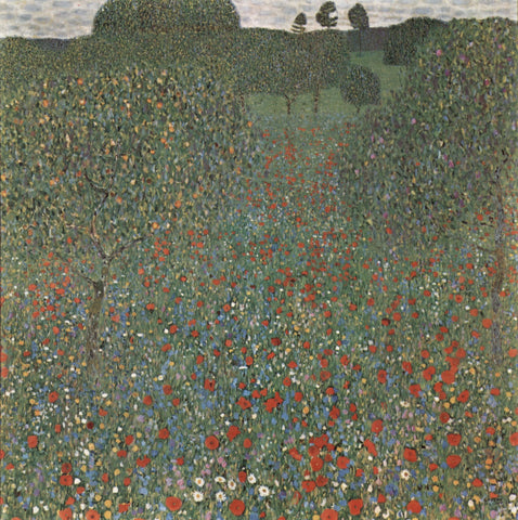 Poppy Field by Gustav Klimt - Hand Painted Oil Painting