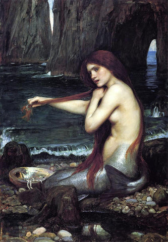 A Mermaid by John William Waterhouse - Hand Painted Oil Painting