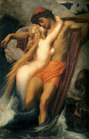 The Fisherman and the Syren by Lord Frederick Leighton - Hand Painted Oil Painting