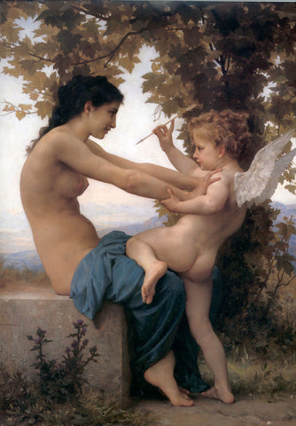 A Young Girld Defending Her Eros by William Adolphe Bouguereau - Hand Painted Oil Painting