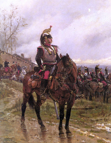 The Hussars by Alphonse De Neuville - Hand Painted Oil Painting