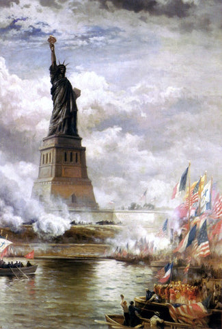 Unveiling the Statue of Liberty by Edward Moran - Hand Painted Oil Painting