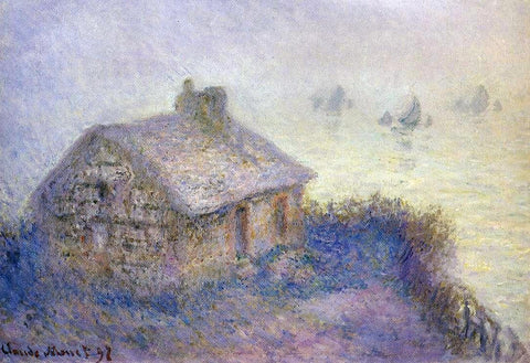 Customs House at Varengeville in the Fog (also known as Blue Effect) by Claude Oscar Monet - Hand Painted Oil Painting