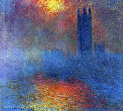 Houses of Parliament, Effect of Sunlight in the Fog by Claude Oscar Monet - Hand Painted Oil Painting