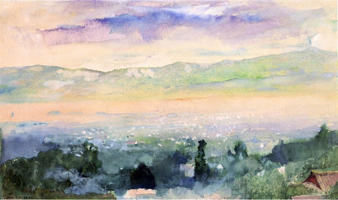 Sunrise in Fog over Kyoto by John La Farge - Hand Painted Oil Painting