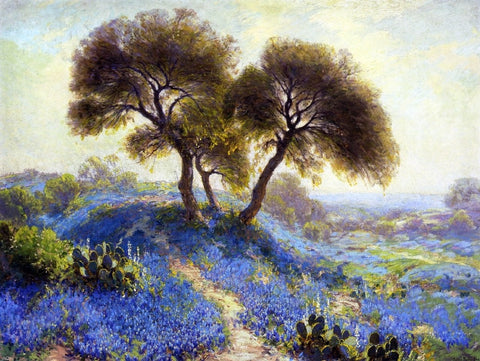 A Spring Morning, Bluebonnets, San Antonio by Julian Onderdonk - Hand Painted Oil Painting