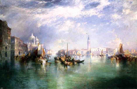 Entrance to the Grand Canal, Venice by Thomas Moran - Hand Painted Oil Painting