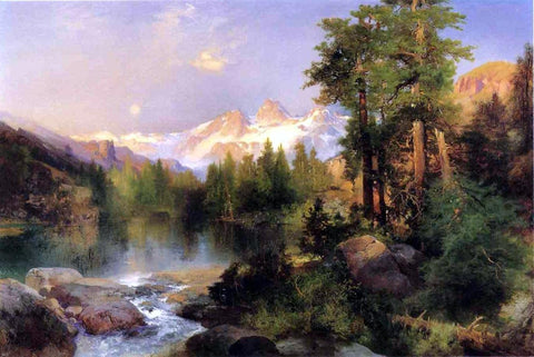 The Three Tetons by Thomas Moran - Hand Painted Oil Painting