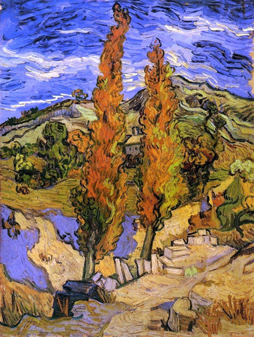 Two Poplars on a Road through the Hills by Vincent Van Gogh - Hand Painted Oil Painting