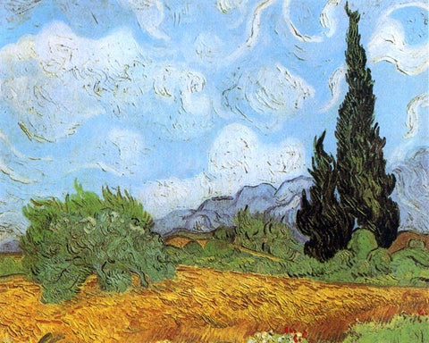 Wheat Field with Cypresses at the Haude Galline near Eygalieres - Hand Painted Oil Painting