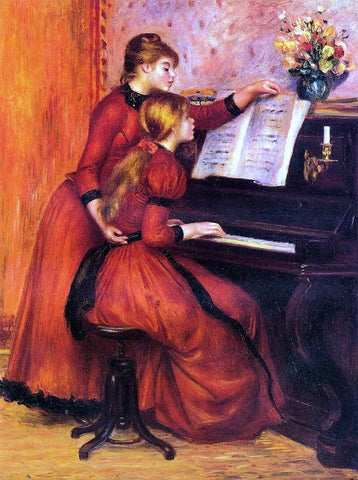 A Piano Lesson by Pierre Auguste Renoir - Hand Painted Oil Painting