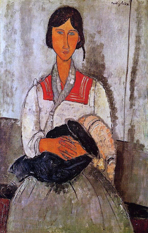 Gypsy Woman with Baby by Amedeo Modigliani - Hand Painted Oil Painting