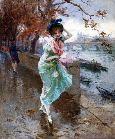 Elegant Lady on the Quay of Paris by Daniel Hernandez - Hand Painted Oil Painting