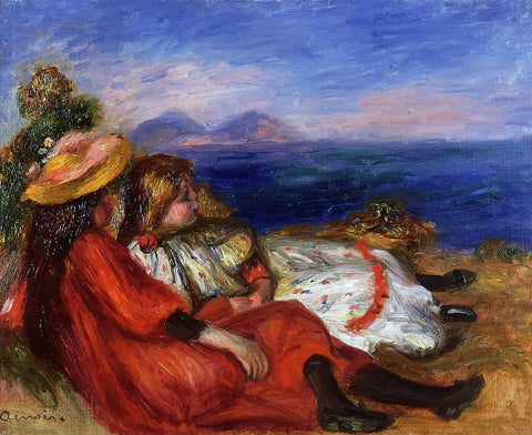 Two Little Girls on the Beach by Pierre Auguste Renoir - Hand Painted Oil Painting