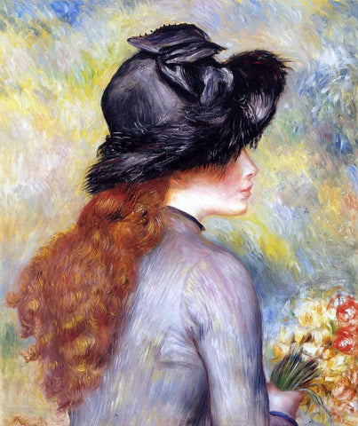 Young Girl Holding at Bouquet of Tulips by Pierre Auguste Renoir - Hand Painted Oil Painting