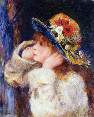 Young Girl in a Hat Decorated with Wildflowers by Pierre Auguste Renoir - Hand Painted Oil Painting
