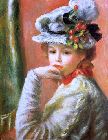 Young Girl in a White Hat by Pierre Auguste Renoir - Hand Painted Oil Painting