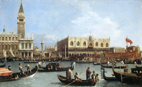 A Return of the Bucentaurn to the Molo on Ascension Day by Canaletto - Hand Painted Oil Painting