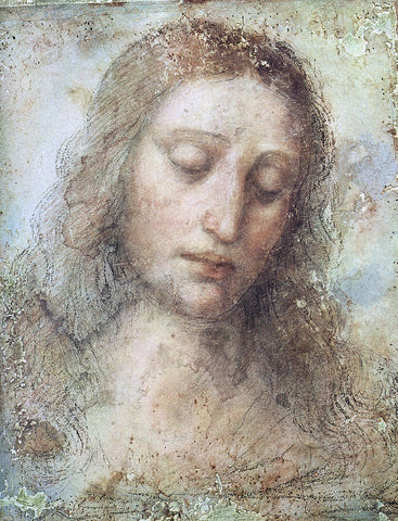 Head of Christ by Leonardo Da Vinci - Hand Painted Oil Painting