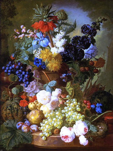 Still Life of Flowers, Fruit and Bird's Nest on a Marble Ledge by Jan Van Os - Hand Painted Oil Painting