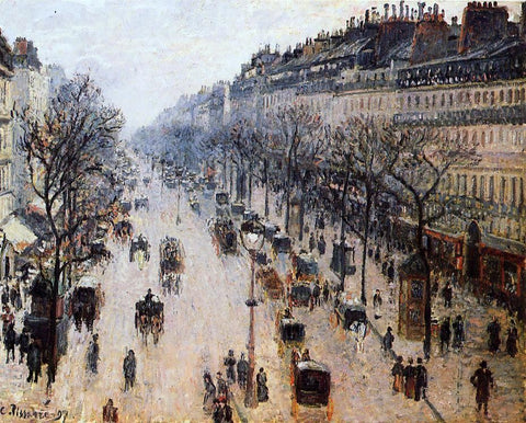 Boulevard Montmartre: Winter Morning by Camille Pissarro - Hand Painted Oil Painting