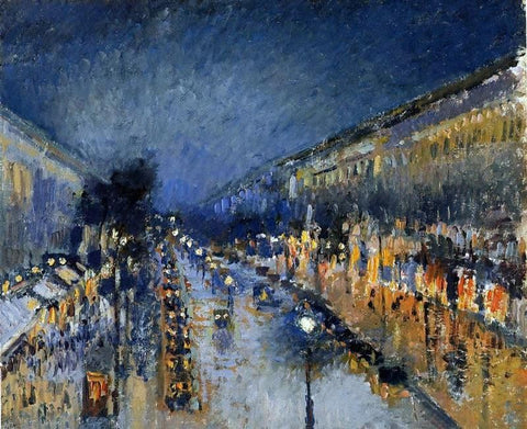 Boulevard Montmartre; Night Effect (also known as Boulevard Montmartre: effet de nuit) by Camille Pissarro - Hand Painted Oil Painting