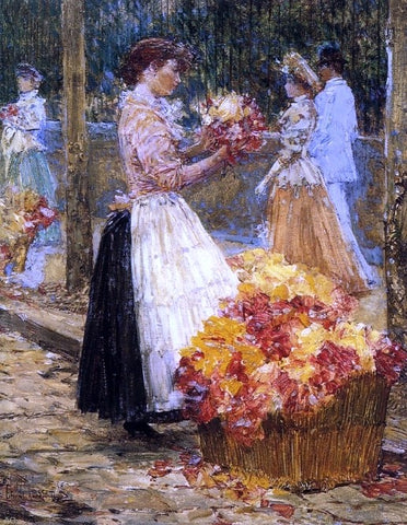Woman Selling Flowers by Frederick Childe Hassam - Hand Painted Oil Painting