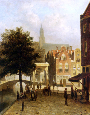 Villagers in the Streets of a Dutch Town by Johannes Frederik Hulk - Hand Painted Oil Painting