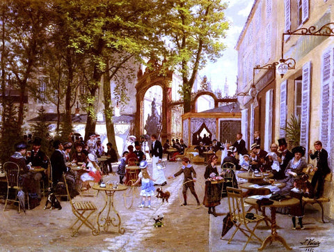La Terrasse Du cafe Du Glacier, Place Stanislas A Nancy by Leon Joseph Voirin - Hand Painted Oil Painting