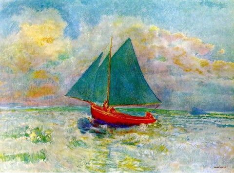 Red Boat with Blue Sails by Odilon Redon - Hand Painted Oil Painting