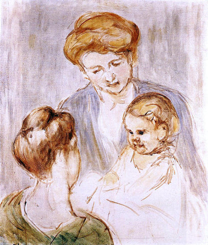 Mary Cassatt Baby Smiling at Two Young Women - Hand Painted Oil Painting