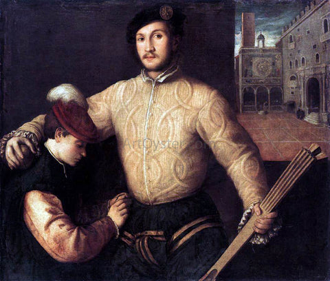 Francesco Beccaruzzi A Ballplayer and His Page - Hand Painted Oil Painting