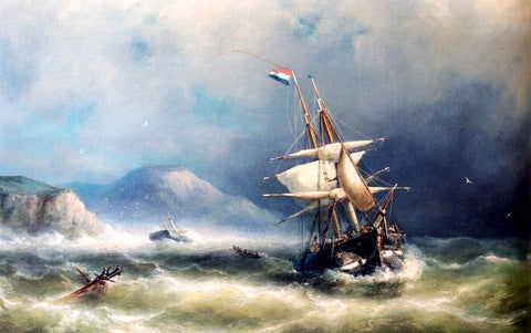 Nicolaas Riegen Barque In Distress Off A Rocky Coast - Hand Painted Oil Painting