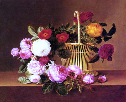 Johan Laurentz Jensen A Basket Of Roses On A Ledge - Hand Painted Oil Painting