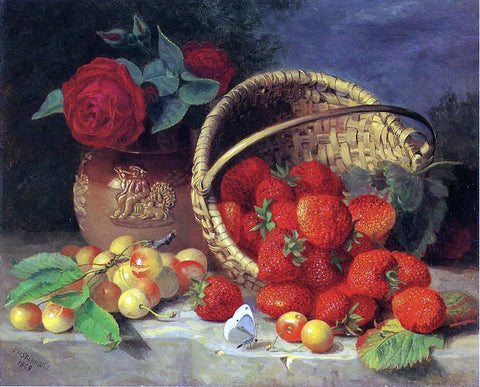 Eloise Harriet Stannard A Basket of Strawberries, Cherries, a Butterfly and Red Roses in a Vase on a Stone Ledge - Hand Painted Oil Painting