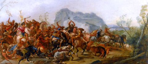 Francesco Maria Raineri A Battle Between Scipio Africanus and the Carthaginians - Hand Painted Oil Painting