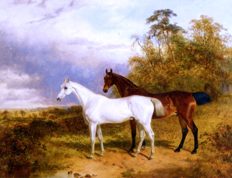 James Walsham Baldock A Bay and Grey Horse in a Landscape - Hand Painted Oil Painting