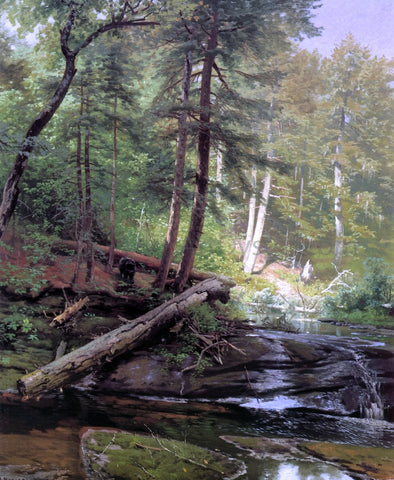 Herman Herzog A Bear Approaching a Forest Stream - Hand Painted Oil Painting