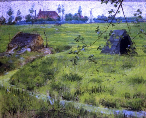 William Merritt Chase A Bit of Holland Meadows (also known as A Bit of Green in Holland) - Hand Painted Oil Painting