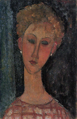 Amedeo Modigliani A Blond Wearing Earings - Hand Painted Oil Painting