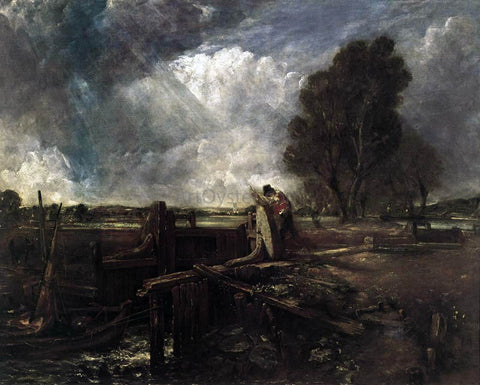 John Constable A Boat at the Sluice (sketch) - Hand Painted Oil Painting