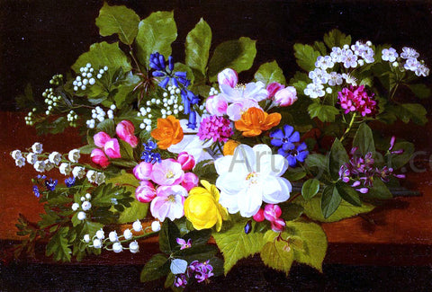 Otto Didrik Ottesen A Bouquet Of Spring Flowers On A Ledge - Hand Painted Oil Painting