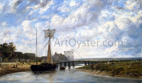 Paul Huet A Bridge over the Touques near Trouville - Hand Painted Oil Painting