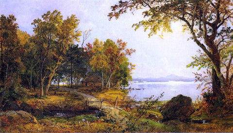 Jasper Francis Cropsey A Cabin on Greenwood Lake - Hand Painted Oil Painting