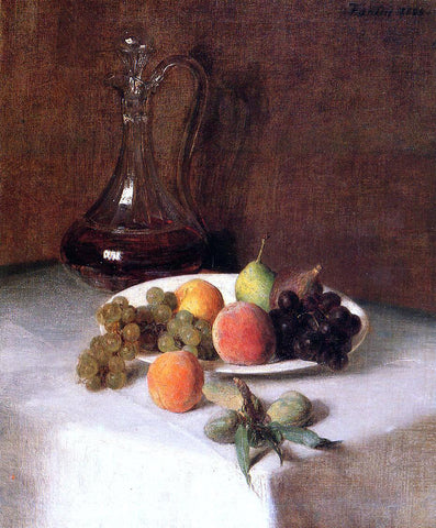 Henri Fantin-Latour A Carafe of Wine and Plate of Fruit on a White Tablecloth - Hand Painted Oil Painting