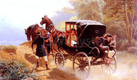 Arthur Johann Severin Nikutowski A Carriage Taking a Difficult Hill - Hand Painted Oil Painting