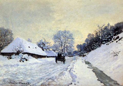 Claude Oscar Monet A Cart on the Snow Covered Road with Saint-Simeon Farm - Hand Painted Oil Painting