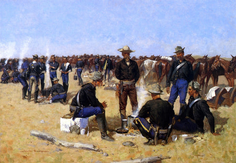 Frederic Remington A Cavalryman's Breakfast on the Plains - Hand Painted Oil Painting
