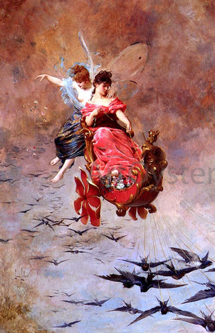Alexandre Louis Leloir A Chariot Of Swallows - Hand Painted Oil Painting