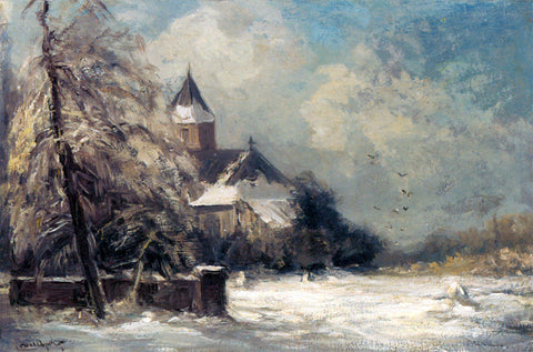 Louis Apol A Church In A Snow Covered Landscape - Hand Painted Oil Painting